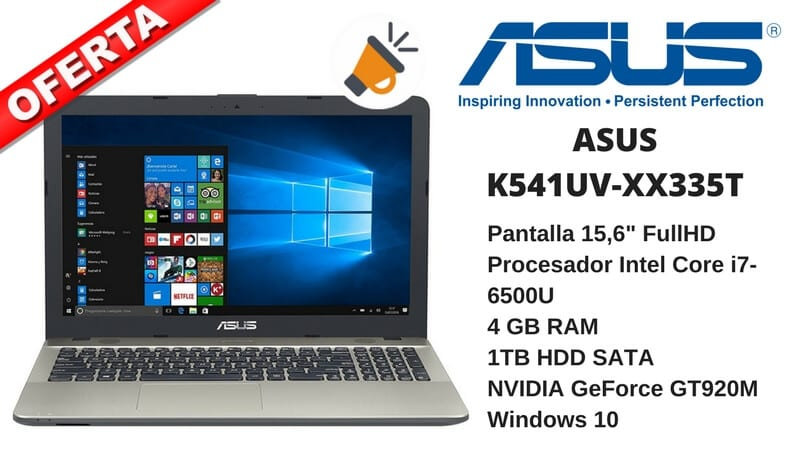 oferta ordenador portatil ASUS K541UV XX335T 4gb intel core barato SuperChollos