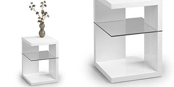 mesa auxiliar rinconera blanco brillo funcional diseno moderno superchollos SuperChollos