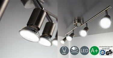 lampara de techo led b.k. licht 4 focos orientables bombillas bajo consumo barata SuperChollos