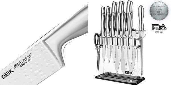 juego cuchillos deik soporte acrilico barato oferta amazon 11 piezas SuperChollos