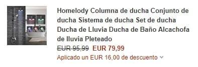 oferta cupon descuento columna de ducha homelody barato SuperChollos