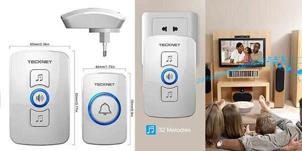 timbre portatil led inalambrico tecknet 4 niveles volumen 2 receptor 1 transmisor amazon SuperChollos