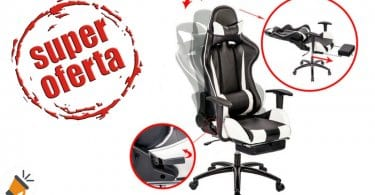 oferta Silla de escritoriogaming con reposapie%CC%81s barata descuento ebay SuperChollos