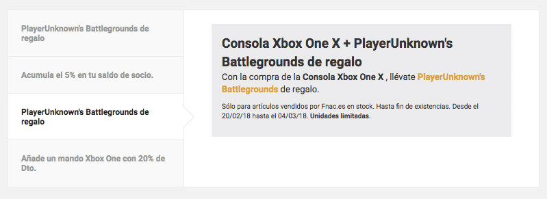Promocio%CC%81n FNAC Consola Xbox One X PlayerUnknowns Battlegrounds de regalo SuperChollos