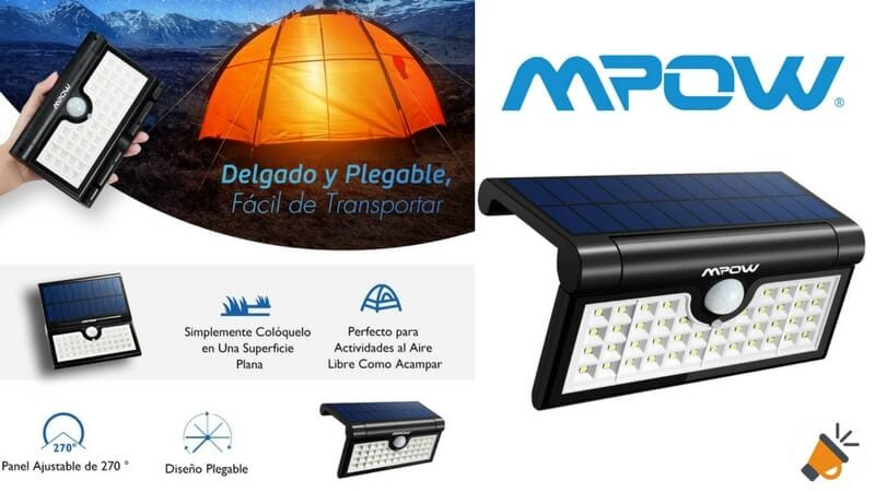 oferta Luz solar con sensor de movimiento Mpow 42LED barata amazon SuperChollos