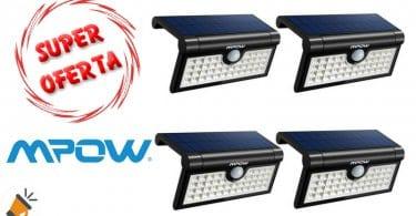oferta pack 4 Luz solar de 42 LED con sensor de movimiento barato chollo amazon SuperChollos