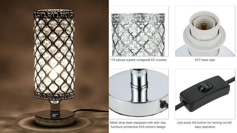 oferta lampara de mesa cristal metal tomshine barata SuperChollos