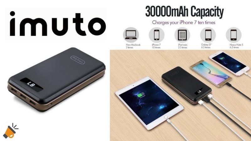 oferta Bateri%CC%81a Externa 30000mAh iMuto barata chollo amazon SuperChollos