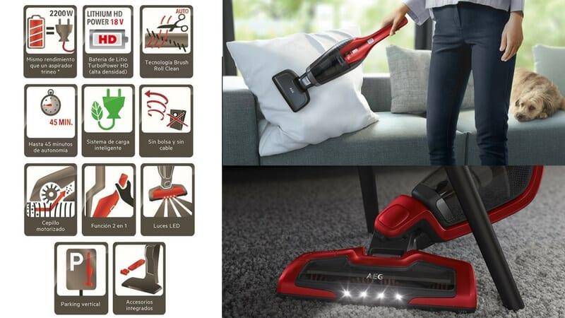 oferta comprar aspiradora escoba dos en uno aeg cx7 flexibility roja barata SuperChollos