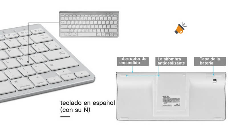 comprar teclado bluetooth inal%C3%A1mbrico soporte iPad iPhone barato SuperChollos