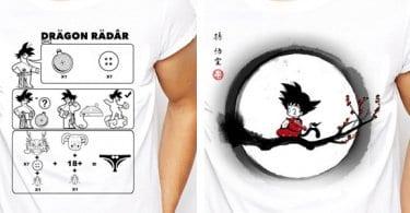 camiseta blanca dragonball goku vegeta parodia chollo barato aliexpress SuperChollos