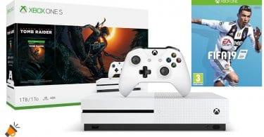 oferta FIFA 19 Xbox One S Consola 1 TB Shadow Of The Tomb Raider barata SuperChollos