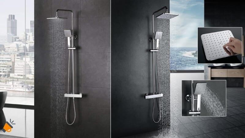 oferta HOMELODY Plateada 38%C2%BAC Termostato incorporado Columna de ducha barata SuperChollos