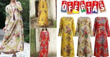 oferta Vestido largo de mujer con estampado floral barato SuperChollos
