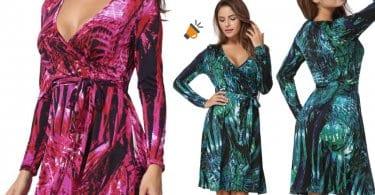 vestido estampado hojas rosa verde midi ebay barato SuperChollos
