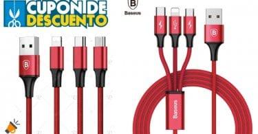 oferta Cable de carga ra%CC%81pida USB 3 en 1 barato SuperChollos