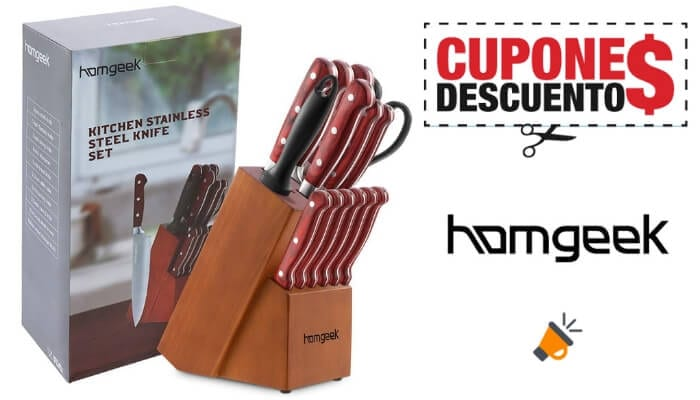 oferta Set 15 cuchillos cocina Homgeek barato SuperChollos
