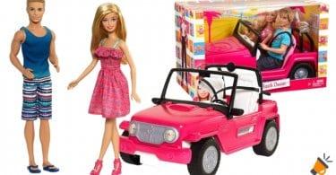 oferta Ken y mun%CC%83eca Barbie con su coche de playa barato SuperChollos