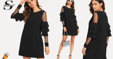 oferta Vestido negro recto con transparencias barato SuperChollos