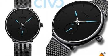 oferta CIVO Reloj Negro Ultra Fino para Hombre barato SuperChollos