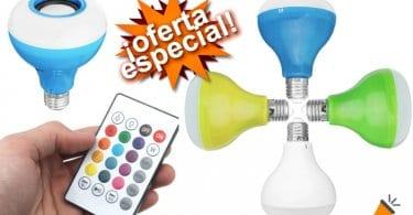 oferta Bombilla LED RGB con Altavoz Bluetooth barato SuperChollos