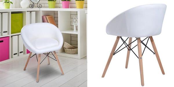 silla comedor acolchada tapizada cuero pu blanca barata aliexpress plaza SuperChollos