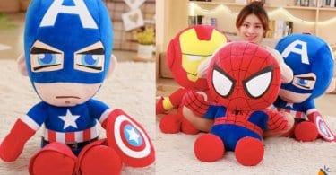 OFERTA Peluches de Capita%CC%81n Ame%CC%81rica Iron Man y Spider Man BARATOS SuperChollos