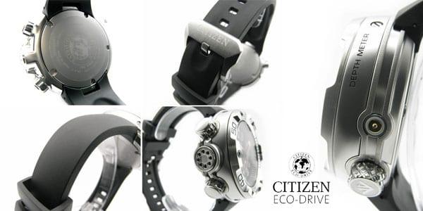 reloj analogico buceo citizen eco drive aqualand acero inox goma barato amazon SuperChollos