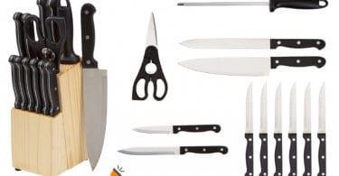oferta AmazonBasics Juego de cuchillos barato SuperChollos