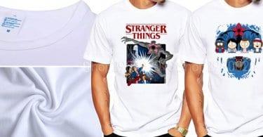 camiseta chico manga corta tshirt stranger things once upside down demogorgon blanco barato aliexpress SuperChollos