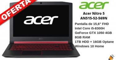 oferta Acer Nitro 5 AN515 52 569N portatil barato SuperChollos