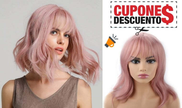 oferta peluca rosa ondulada barata SuperChollos