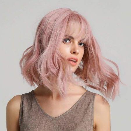 Peluca rosa ondulada barata SuperChollos