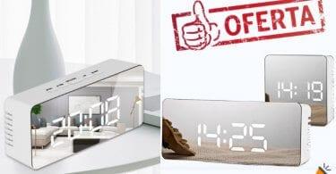 oferta Reloj despertador espejo barato SuperChollos