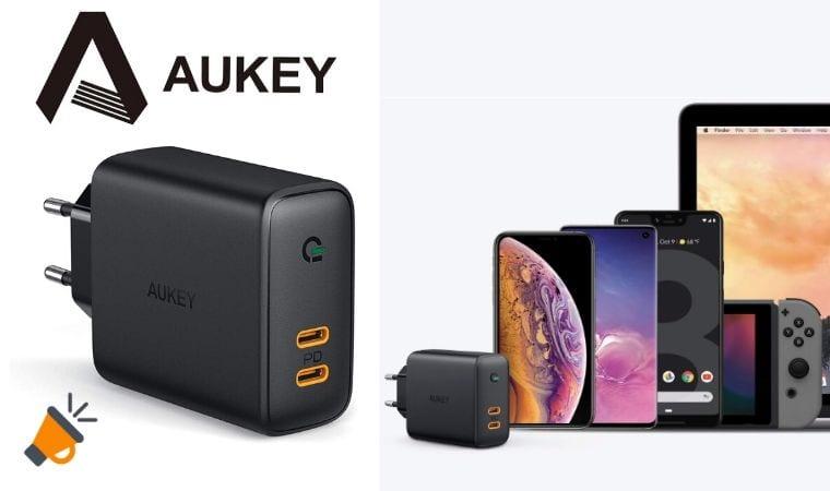oferta AUKEY Cargador USB C con Power Delivery barato SuperChollos