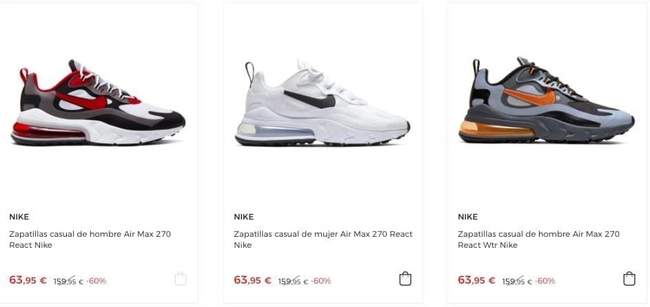 Zapatillas Nike Air Max 270 React desde solo 53€ (varios ...