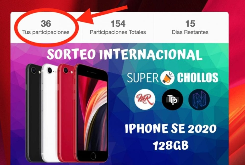 participaciones sorteo ejemplo iphone se 2020 SuperChollos