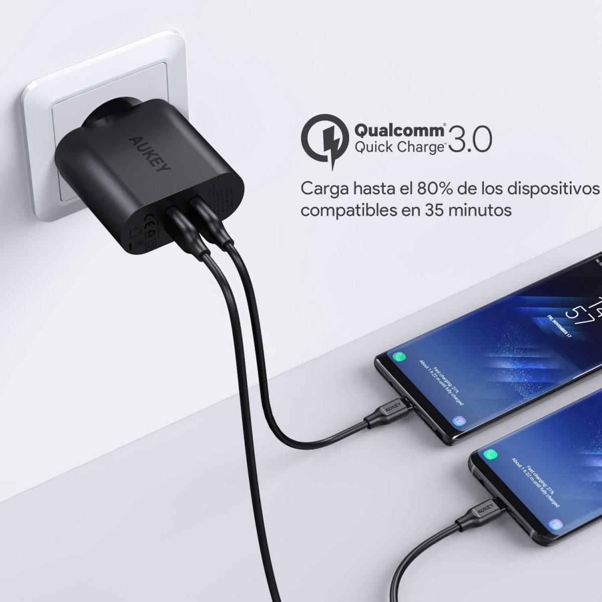 Cargador Aukey Quick Charge 3.0 barato scaled SuperChollos
