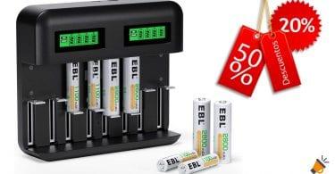 oferta cargador pilas EBL LCD barato SuperChollos