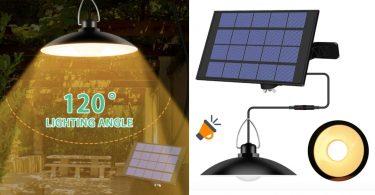 oferta La%CC%81mpara colgante con cargador solar barata SuperChollos